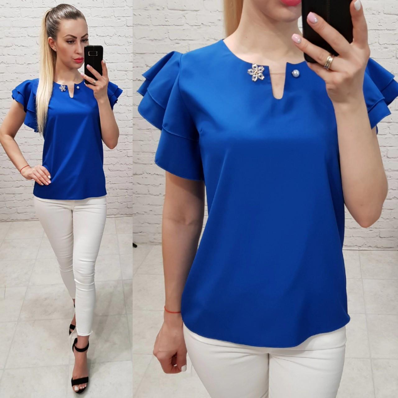 Блуза женская, софт, модель 166, цвет - электрик