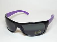 Спортивные глянцевая  очки  черная оправа с фиолетовыми дужками 32_1_78a3