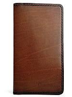 Кожаный мужской кошелек ручной работы в коньячном цвете Tsar.store с ручным прошивом