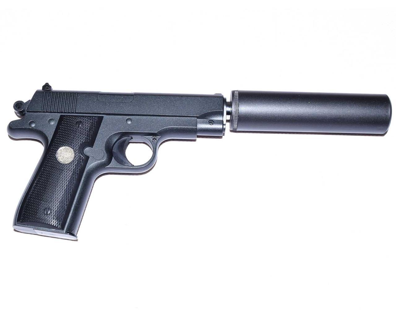 Страйкбольный пистолет Galaxy G2A (Browning mini) с глушителем