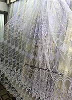 Красивая забитая тюль с блестящей ниткой в спальнюЦвет: Белый, Крем-золото № 058