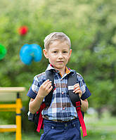 Рубашка с коротким  рукавом в клетку  для мальчиков 6-11 лет