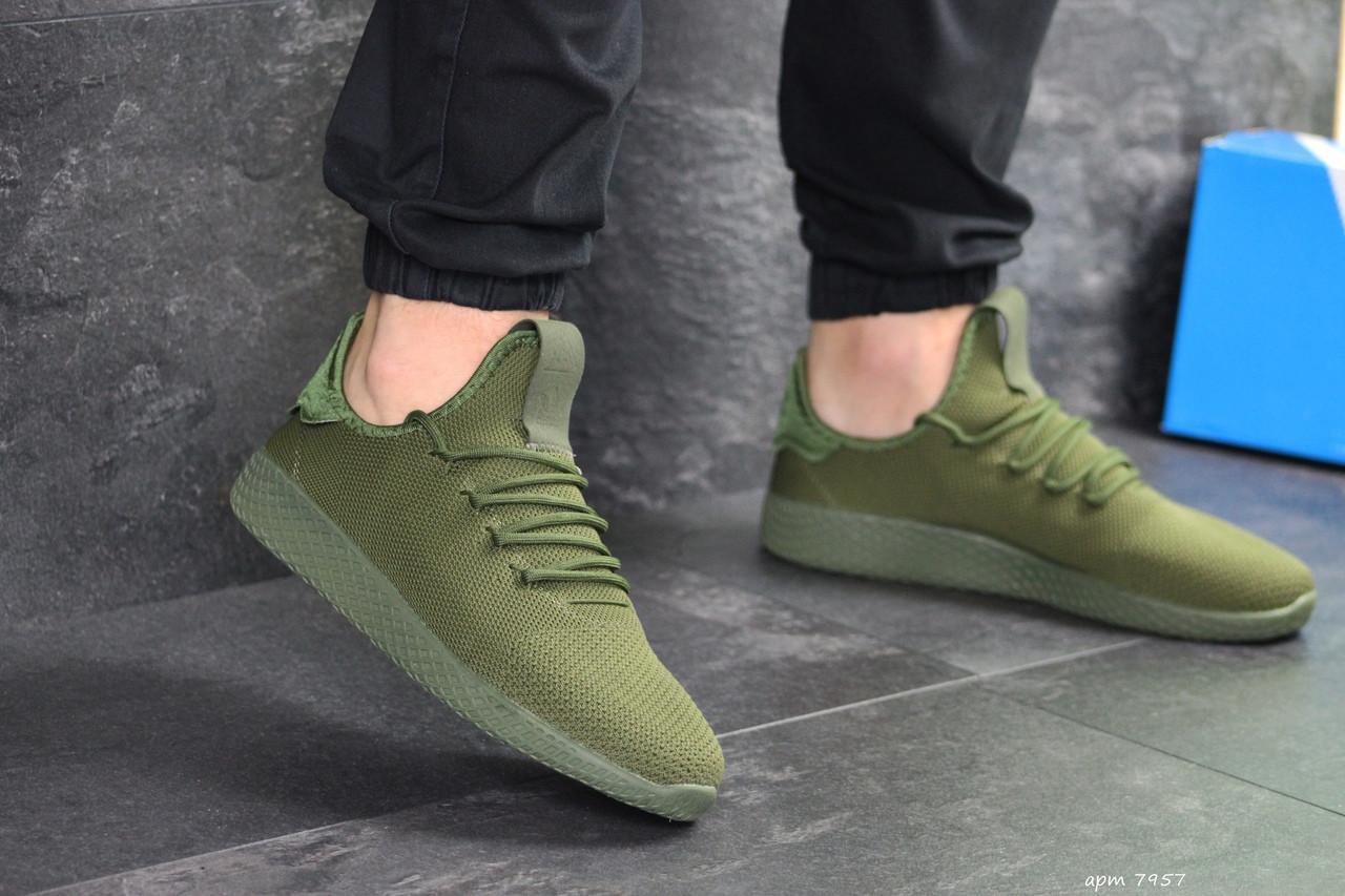 Мужские кроссовки Adidas Pharrell Williams (темно-зеленые)