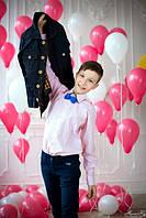 Рубашка розовая в полоску, одежда для мальчиков 116-164