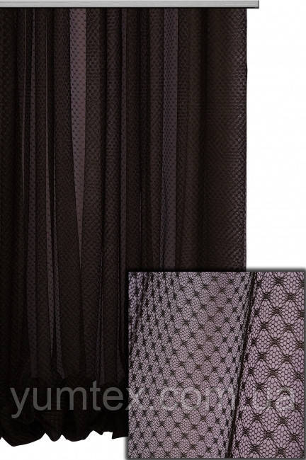 Тюль сетка ромбик арника или аноретта цвет черный