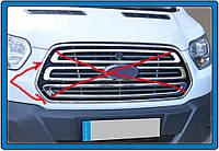 Ford Transit 2014↗ гг. Обводка решетки (2 шт, нерж) OmsaLine - Итальянская нержавейка
