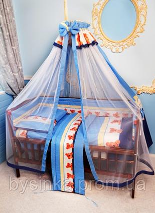 Балдахин с фатином и тканью для детской кровати.