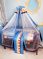 Балдахин с фатином и тканью для детской кровати. , фото 1