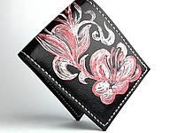 Кожаный женские кошелек ручной работы с ручной росписью черного цвета Tsar.store с ручным швом и мягкой кожи