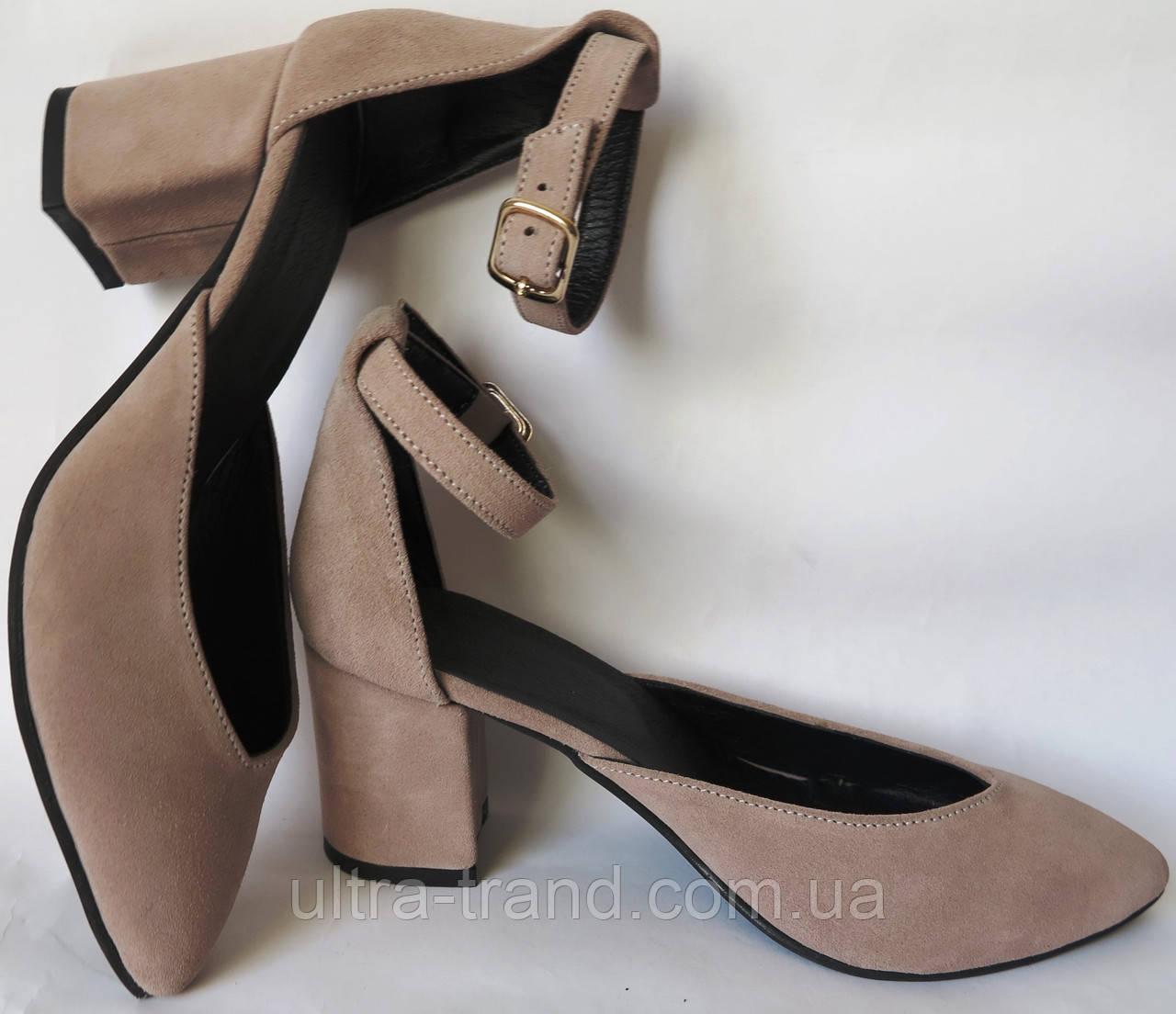 Комфортные туфли Limoda из натуральной замши босоножки на каблуке 6 см латте замш