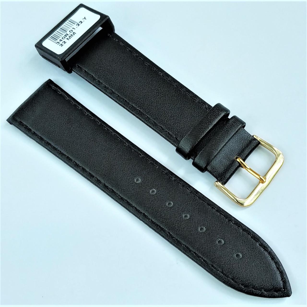 22 мм Кожаный Ремешок для часов CONDOR 340.22.01 Черный Ремешок на часы из Натуральной кожи