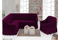 Еврочехол на угловой диван с креслом, Турция с оборкой (Баклажан))))