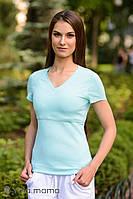 Облегающая футболка для кормящих мам IVANNA, бирюзовая., фото 1