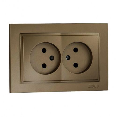 Розетка двойная без заземления Despina Бронза Mono Electric 102-232305-121