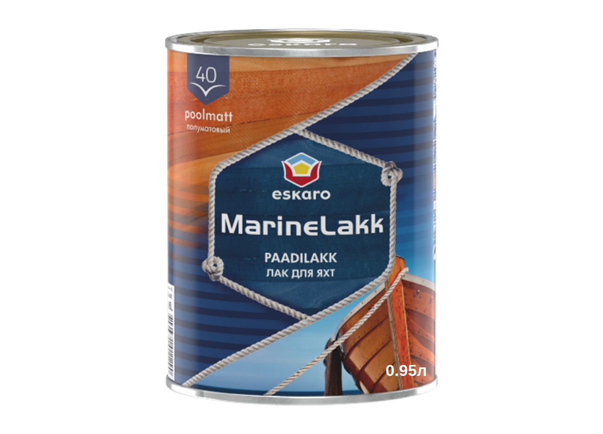 Уретан-алкидный лак для яхт Marine lakk 40 Eskaro 0,95л (Полуглянцевый)