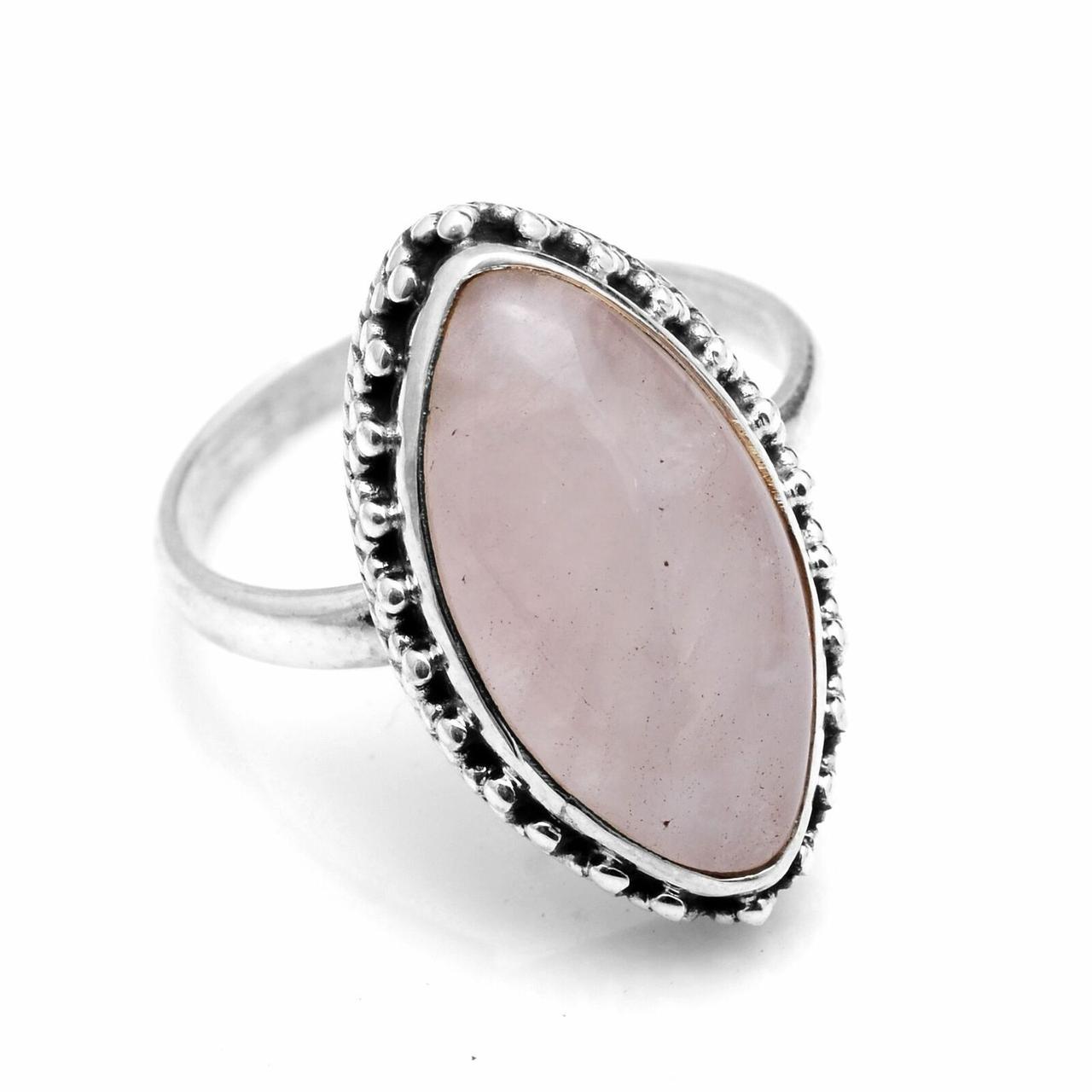 Кільце з срібла з рожевим кварцом, 18*10 мм., 1774КЦР