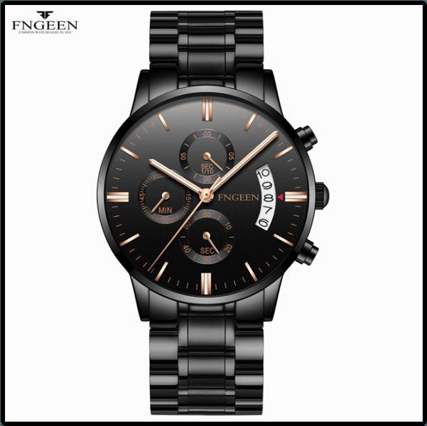 Годинники наручні Fngeen Fenz 5055 чорний циферблат наручного шкіра Число Флуоресцентні Водонепроникні