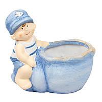 Садовая декорация - кашпо мальчик, 13*13,5*9 см, голубой, керамика (820238-2)