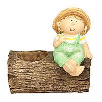 Садовая декорация - горшок малькик на колоде, разноцветный, керамика (820047-2)