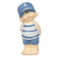 Садовая декорация - мальчик, 11,5*5*5,4 см, голубой, керамика (820221-2)