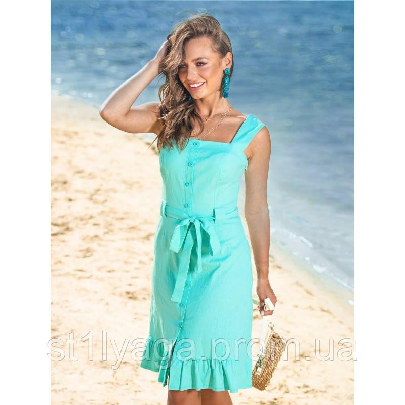 46a91675cb24e5a Платье льняное на широких бретелях и поясом в комплекте ЛЕТО ...