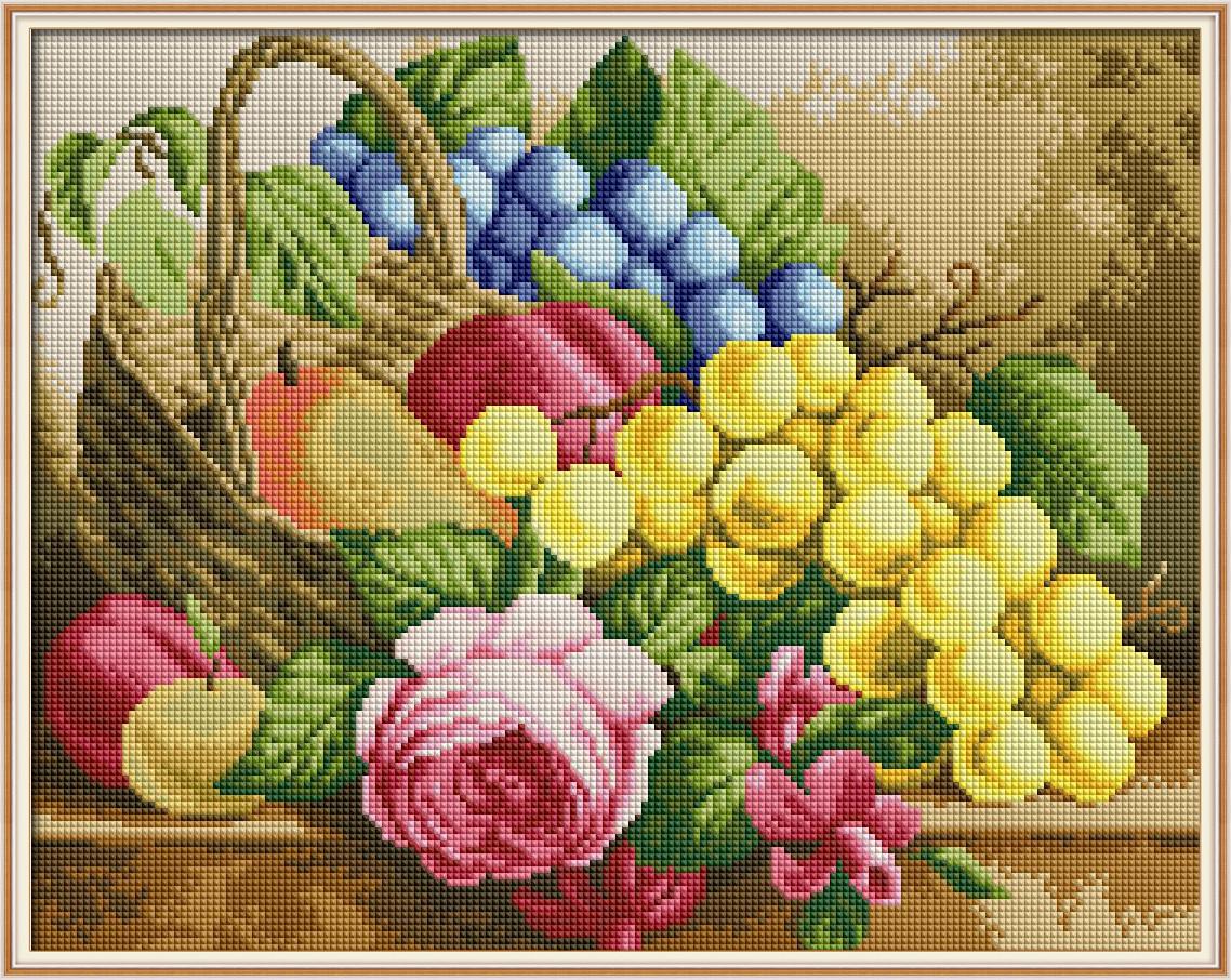 Набор Алмазная вышивка Корзина с фруктами J0022