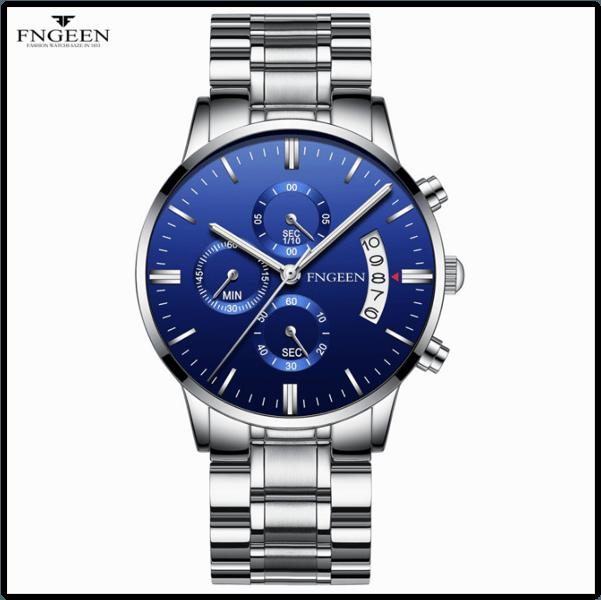 Часы наручные Fngeen Fenz 5055 синий циферблат ремешок метал Число Флуоресцентные Водонепроницаемые