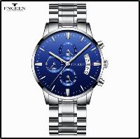 Часы наручные Fngeen Fenz 5055 синий циферблат ремешок метал Число Флуоресцентные Водонепроницаемые, фото 1