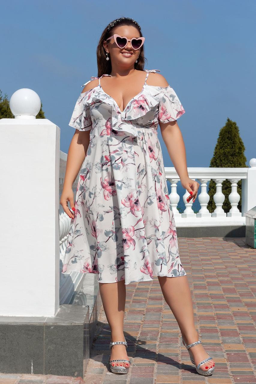 Цветочное платье миди 04055