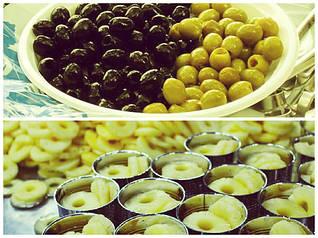 Оливки, маслины, ананас, оливковое масло