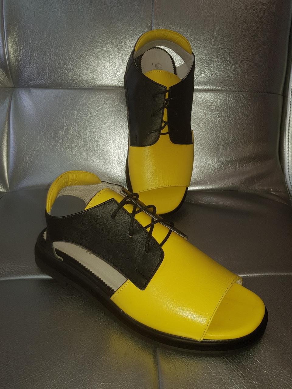 Желто-черные кожаные босоножки на шнурках 36-40р
