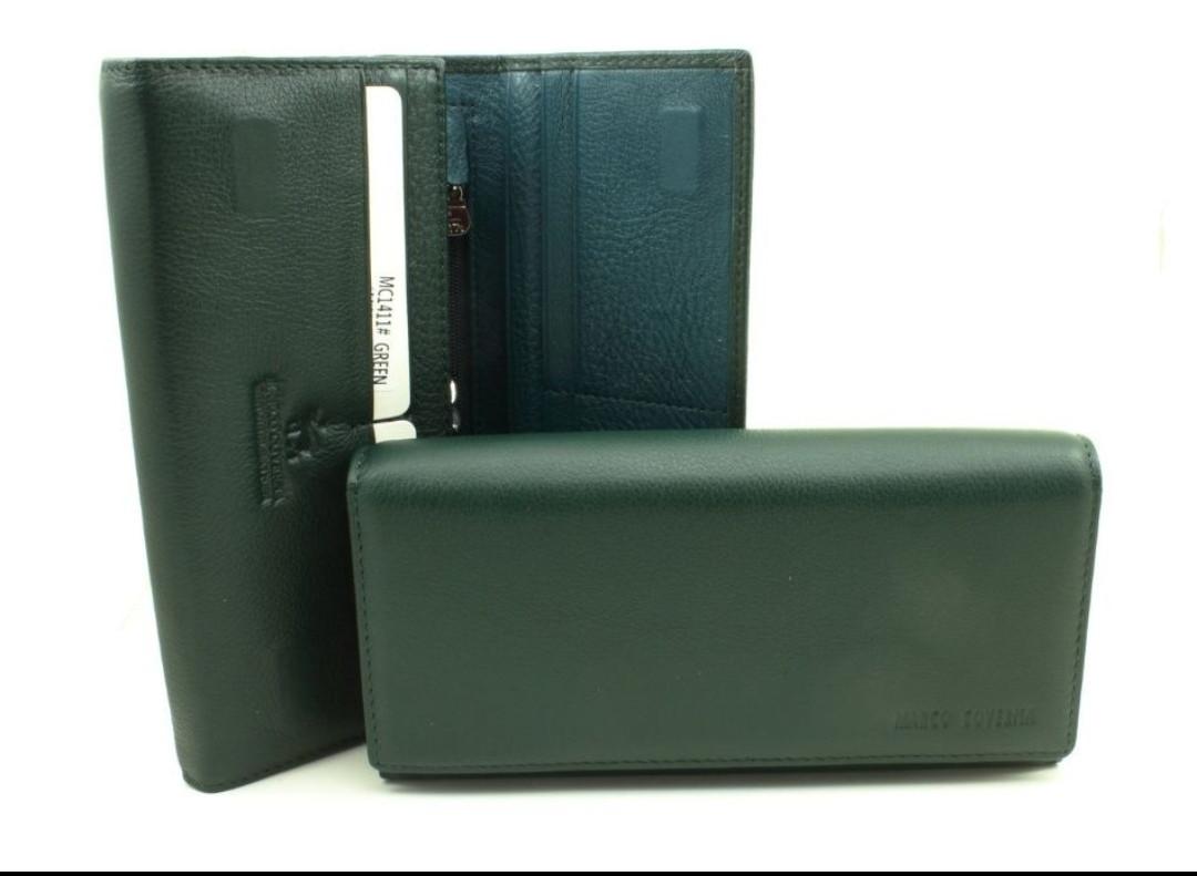Женский кожаный кошелек Marco Coverna  на магнитах темно-зеленый