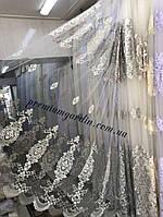 Фатиновая тюль турецкого качества для зала спальни №4086 Цвет: Серый