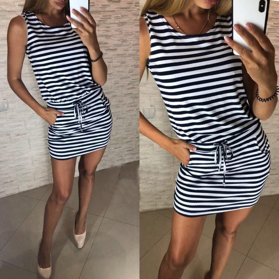 Короткое летнее платье туника в полоску