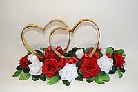 Кольца для украшения свадебной машины красно-белого цвета