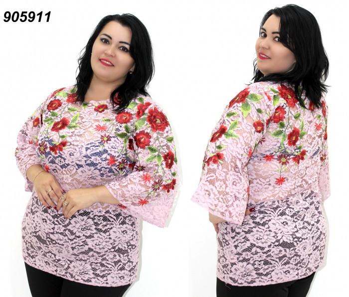 Розовая женская гипюровая блуза с вышивкой 50,52,54,56