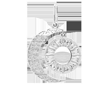 Подвеска - кулон унисекс серебряная Полумесяц и Солнце 60204