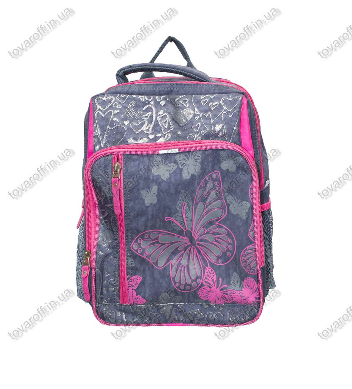 Оптом рюкзак школьный детский Бабочка - Серо-розовый - MeShock (Bagland) - 11270