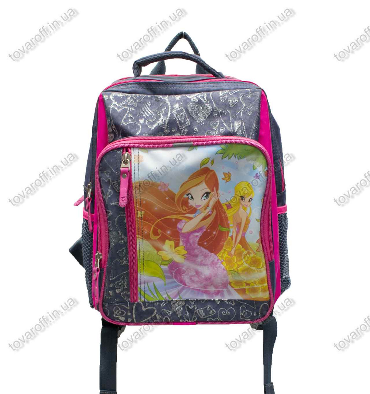 Оптом рюкзак школьный детский Винкс (Winx) - Серо-розовый - MeShock (Bagland) - 11270