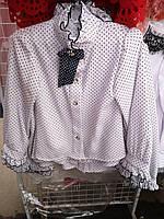 Блузка школьная в гороховый принт оптом