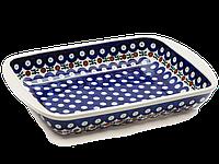 Керамическая форма для выпечки и запекания прямоугольная малая 29,5 х 20,5 с ушками Вишенки