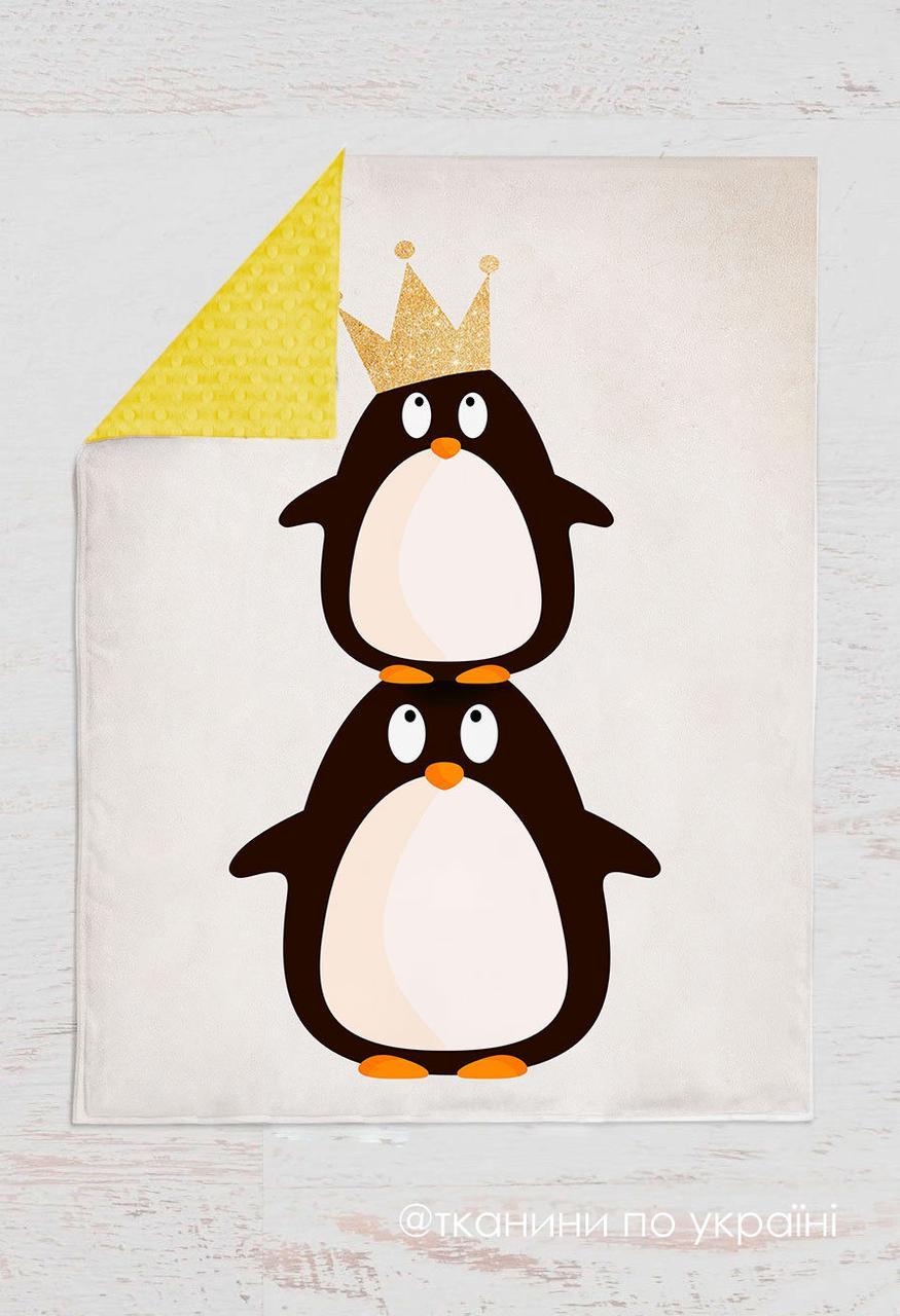 Панелька Премиум сатин Пингвины с короной 100*75