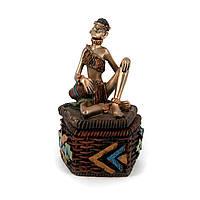 Шкатулка статуэтка африканской девушки на крышке S7626