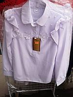 Блузка школьная для девочки декорированная бусинками оптом