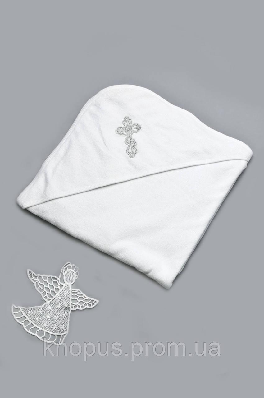 Крыжма махровая для крещения с уголочком, белая , Модный Карапуз