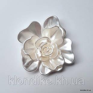 Серединки Цветок,  d - 5.5 см, Цвет: Белый перламутровый (2 шт.)