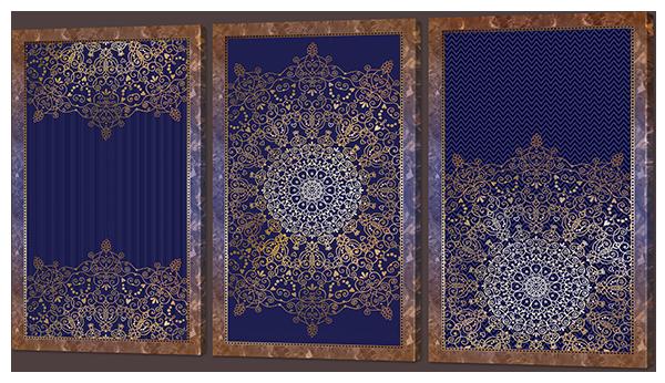 Модульная картина Interno Искусственный холст Узоры на синем 164x93см (Z952XXL)