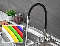 Смеситель для кухни из нержавеющей стали (SUS304) SANTEP 8201 (в разных цветах) с силиконовым изливом