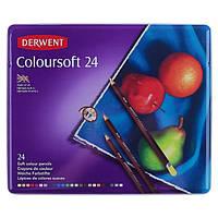 """Набір кольорових олівців Derwent """"Coloursoft"""" 24 кол в метал кор 0701027"""