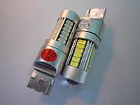 Светодиод Т20-7440-24SMD(5630-0.2W)+2SMD(3535-3W)-12-24V красная, белая
